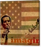 Ted Cruz For President Imagine Speech 2016 Usa Watercolor Portrait On Distressed American Flag Canvas Print
