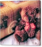 Teddy Bear And Suitcase Canvas Print