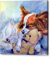 Teddy Hugs - Papillon Dog Canvas Print