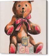 Teddy With Blocks Canvas Print