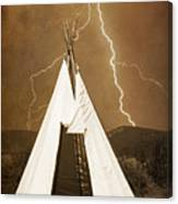 Tee Pee Lightning Canvas Print