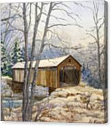 Teegarden Covered Bridge In Winter Canvas Print