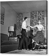 Teen Couple Dancing At Home, C.1950s Canvas Print