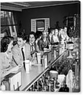Teens At Soda Fountain Counter, C.1950s Canvas Print
