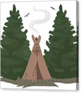 Teepee In The Woods Canvas Print