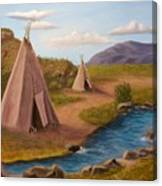 Teepees On The Plains Canvas Print