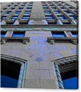Telephone Building With Indigo Reflections Canvas Print