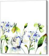 Template For Card With Decorative Wild Flowers Canvas Print