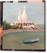 Temple In Sea Canvas Print