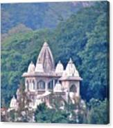 Temple In The Distance - Rishikesh India Canvas Print