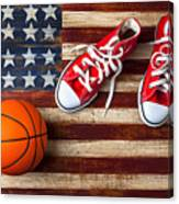 Tennis Shoes And Basketball On Flag Canvas Print