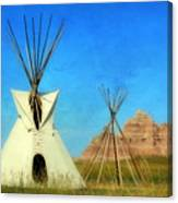 Tepee In Badlands Canvas Print