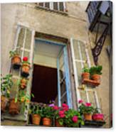 Terra Cotta Pots Outside Window In Old Town Nice, France Canvas Print