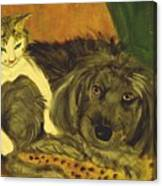 Terrier Mix And Feline Friend Canvas Print