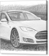 Tesla P58d Electric Car Pencil Drawing Canvas Print