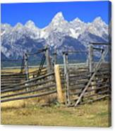 Teton Corral Canvas Print