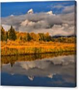 Teton Fall Foliage And Fog Canvas Print