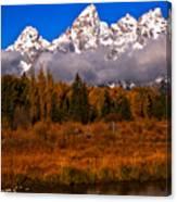 Teton Peaks Above Fall Foliage Canvas Print