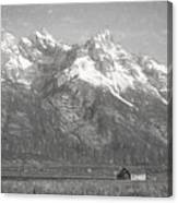 Teton Range Charcoal Sketch Canvas Print
