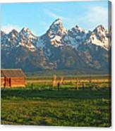 Tetons And Cabin Canvas Print