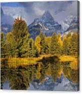 Tetons And Schwabacher Pond Canvas Print