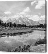 Tetons At Schwabacher Landing Monochrome Canvas Print