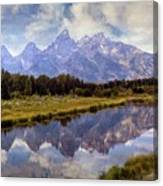 Tetons At The Landing 1 Canvas Print