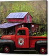 Texaco Truck On A Smoky Mountain Farm In Colorful Textures  Canvas Print