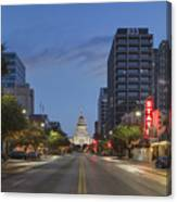 Texas Capitol And The Paramount From Congress Canvas Print