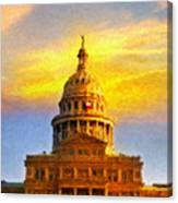 Texas Capitol At Sunset Austin Canvas Print