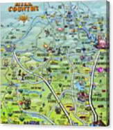 Texas Hill Country Cartoon Map Digital Art by Kevin Middleton