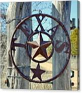 Texas Star Rustic Iron Sign Canvas Print