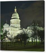 Texas State Capitol Building In Austin At Night Canvas Print