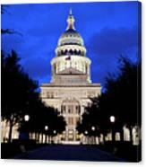 Texas State Capitol Floodlit At Night, Austin, Texas - Stock Image Canvas Print