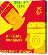 Texas Vs Notre Dame 1934 Program Canvas Print