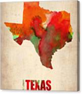 Texas Watercolor Map Canvas Print