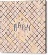 Text Art So Happy - Orange Canvas Print