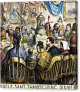 Thanksgiving Cartoon, 1869 Canvas Print