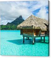 Thatched Roof Honeymoon Bungalow On Bora Bora Canvas Print