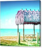 Thatched Roof Hut On Beach Canvas Print