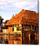 Thatched Roof Placencia Canvas Print