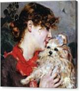 The Actress Rejane And Her Dog Canvas Print