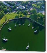 The Aerial View Of The Marina Of Mamaroneck Canvas Print