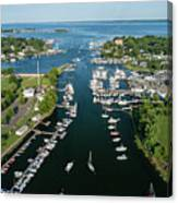 The Aerial View To The Mamaroneck Marina, Westchester County Canvas Print