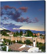 The Alhambra Palace And Albaicin At Sunset Canvas Print