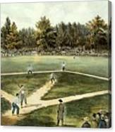 The American National Game Of Baseball Grand Match At Elysian Fields Canvas Print