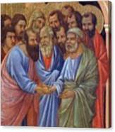 The Arrival Of The Apostles To The Virgin Fragment 1311 Canvas Print