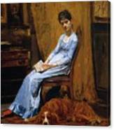The Artist Wife And His Setter Dog 1889 Canvas Print