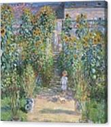 The Artists Garden At Vetheuil Canvas Print