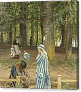 The Artist's Wife And Daughters In A Park At Heringsdorf Canvas Print
